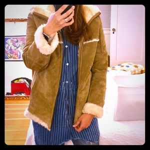 Vintage boho hooded suede and shearling jacket